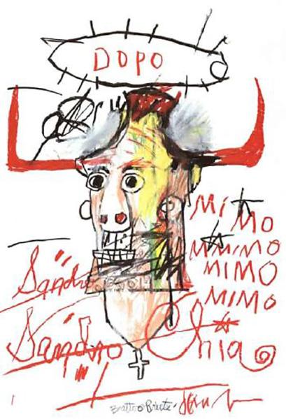 Jean-Michel Basquiat-Portrait of Sandro Chia-1984