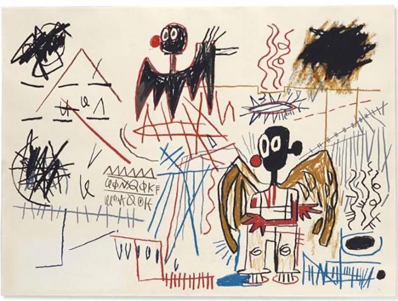 Jean-Michel Basquiat-Sans Titre (Black Bird, Black Wings)-1982