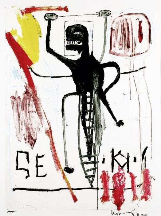 Jean-Michel Basquiat-Sans Titre (Black Fly)-1985