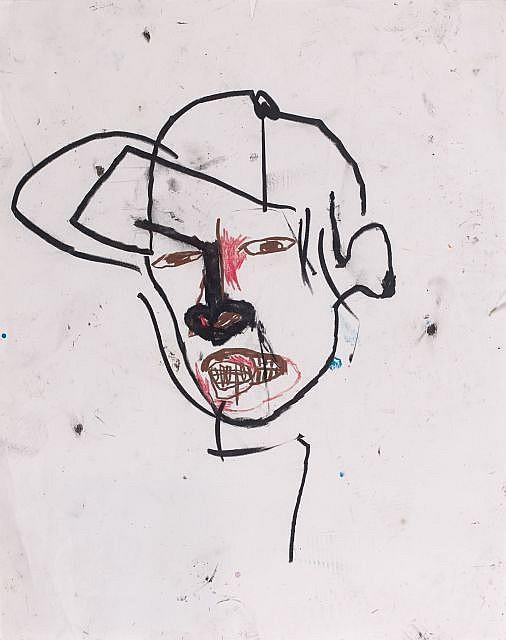 Jean-Michel Basquiat-Sans Titre (Black Nose Face)-1987