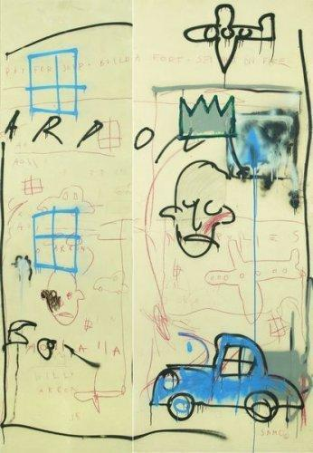 Jean-Michel Basquiat-Sans Titre (Blue Car, Sad Face)-1981