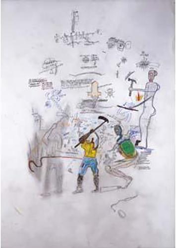Jean-Michel Basquiat-Sans Titre (Blue-Yellow Worker)-1985
