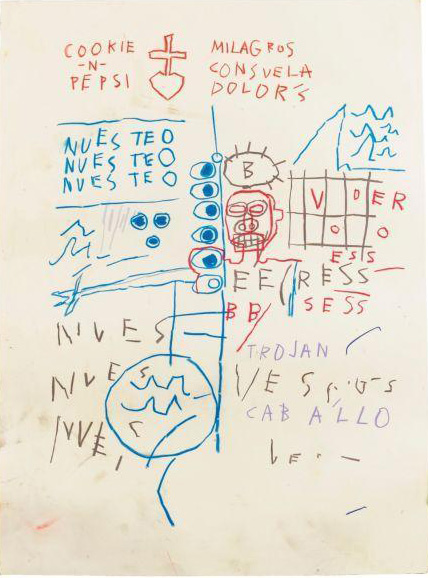 Jean-Michel Basquiat-Sans Titre (Cookie in Pepsi)-1982