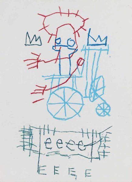 Jean-Michel Basquiat-Sans Titre (EEEE, Blue Wheel)-1981