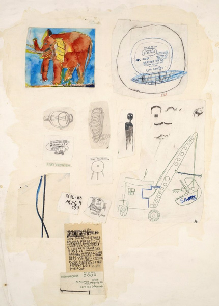 Jean-Michel Basquiat-Sans Titre (Elephant on Map)-1985