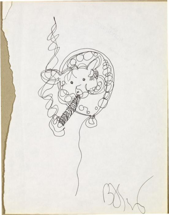 Jean-Michel Basquiat-Sans Titre (Pig Ballon Cigar)-