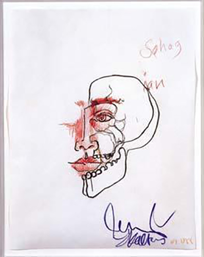 Jean-Michel Basquiat-Sans Titre (Sahag, Face Half Scull)-1988