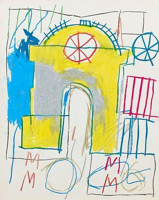 Jean-Michel Basquiat-Sans Titre (Yellow Arched Gate, MMMM)-1981