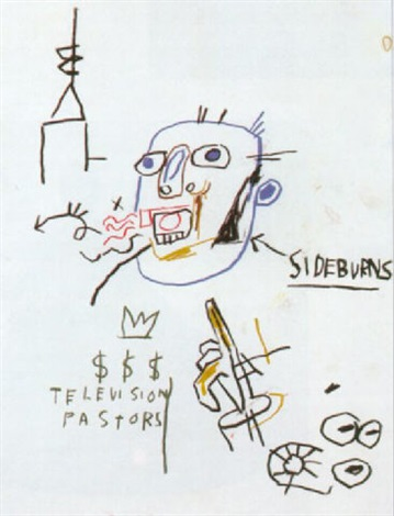 Jean-Michel Basquiat-Sans Titre (Side Burns)-1982