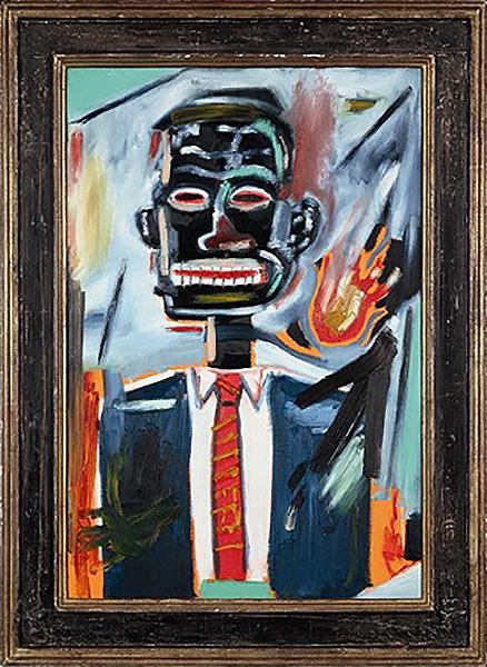 Jean-Michel Basquiat-Self-Portrait with Tie-1985