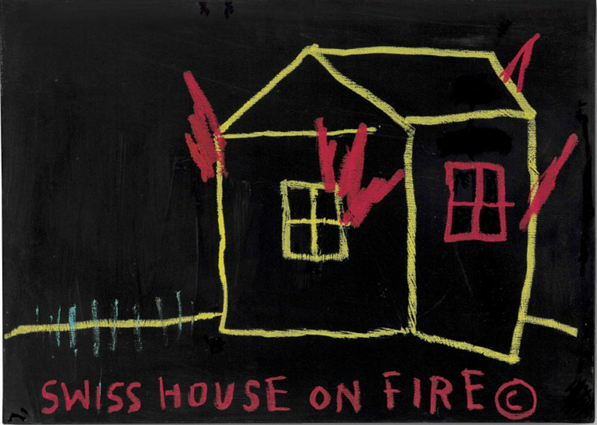 Jean-Michel Basquiat-Swiss House on Fire-1983