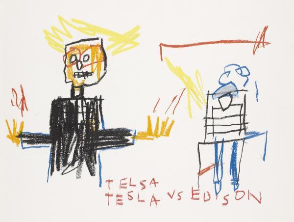 Jean-Michel Basquiat-Tesla vs Edison-1983