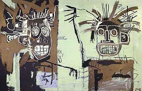 Jean-Michel Basquiat-Two Heads On Gold-1982