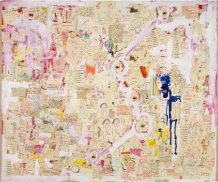 Jean-Michel Basquiat-Untilted (Skinny Blue Figure Collage)-1987
