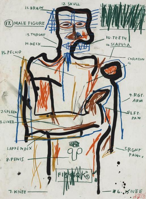 Jean-Michel Basquiat-Untitled (17. Male Figure)-1983