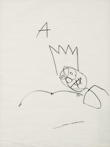 Jean-Michel Basquiat-Untitled (A, Simple Drawing)-1980