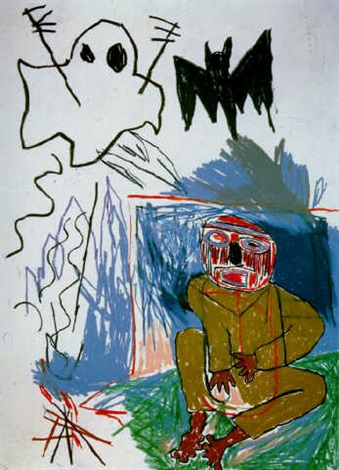 Jean-Michel Basquiat-Untitled (Bat and Ghost)-1982