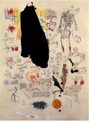 Jean-Michel Basquiat-Untitled (Black Cape, Sceleton)-1986