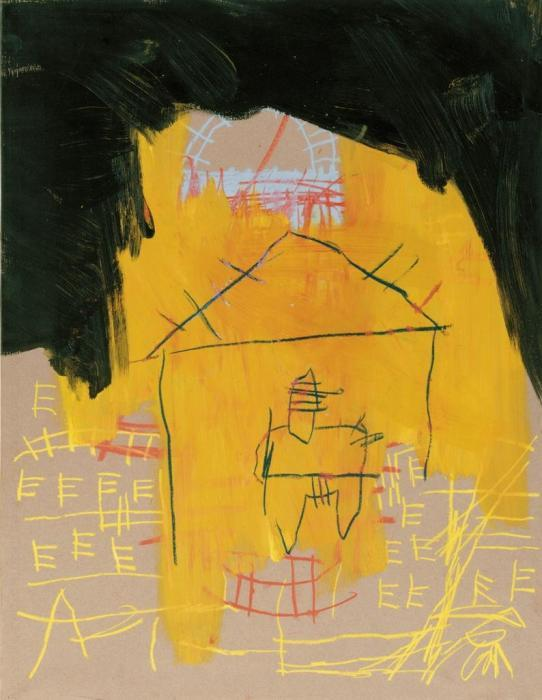 Jean-Michel Basquiat-Untitled (Black Cloud Yellow House)-1981