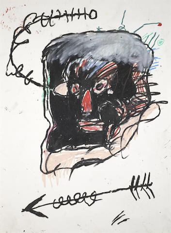 Jean-Michel Basquiat-Untitled (Black Face, Black Arrow)-1982