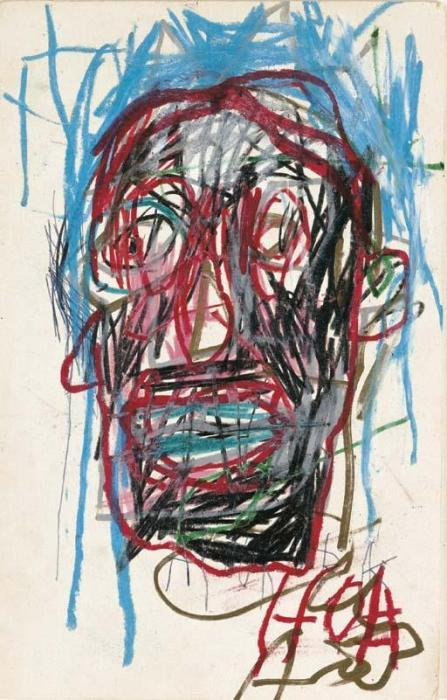 Jean-Michel Basquiat-Untitled (Black Face Blue Hair)-