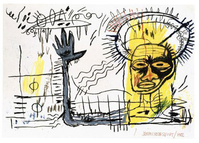 Jean-Michel Basquiat-Untitled (Black Hand Yellow Head)-1982