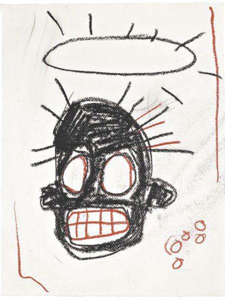 Jean-Michel Basquiat-Untitled (Black Head Black Halo)-1981