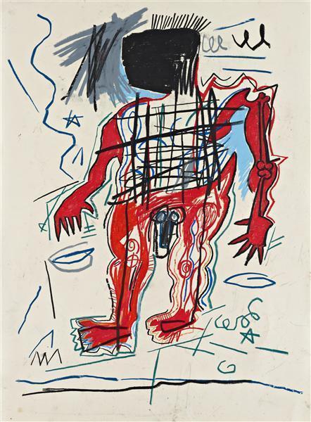 Jean-Michel Basquiat - Untitled (Black Head Red Body)-1982
