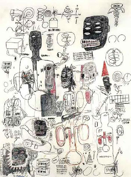 Jean-Michel Basquiat-Untitled (Black Head Six Eyes)-1986