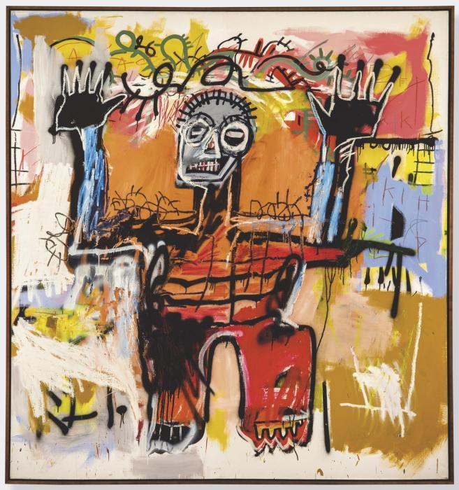 Jean-Michel Basquiat-Untitled (Black King Hands Up)-1981