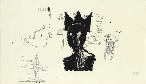 Jean-Michel Basquiat-Untitled (Black King, Star Corner)-1984