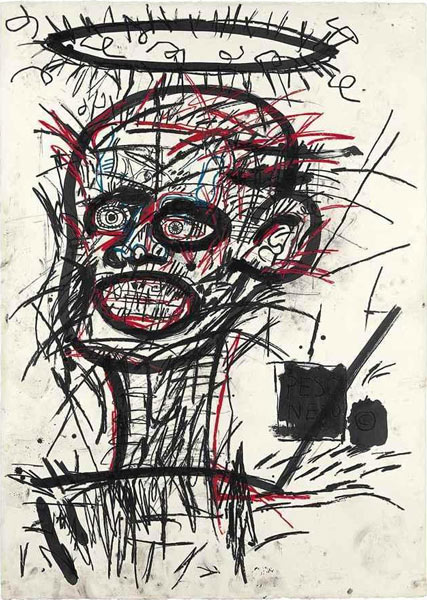 Jean-Michel Basquiat-Untitled (Black Stroked Face)-1982
