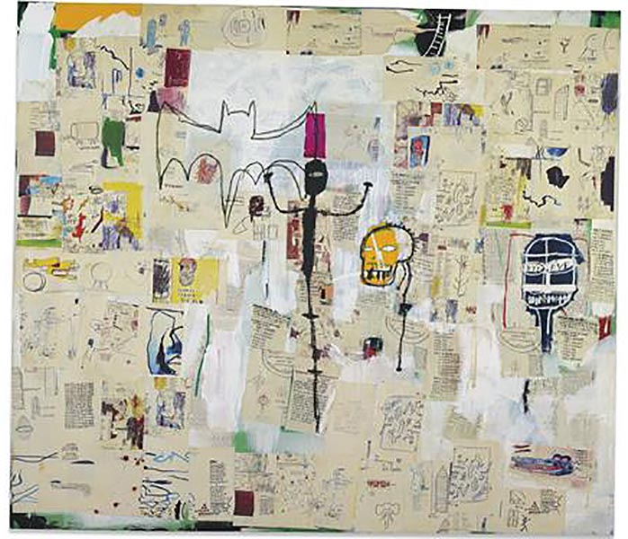 Jean-Michel Basquiat-Untitled (Black Thin, Yellow Head)-1987
