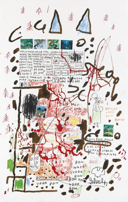 Jean-Michel Basquiat-Untitled (Blue Horns, Shell)-1988