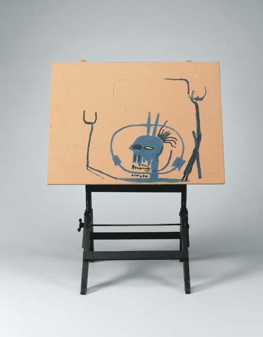 Jean-Michel Basquiat-Untitled (Blue King on The Wooden Stand)-1984