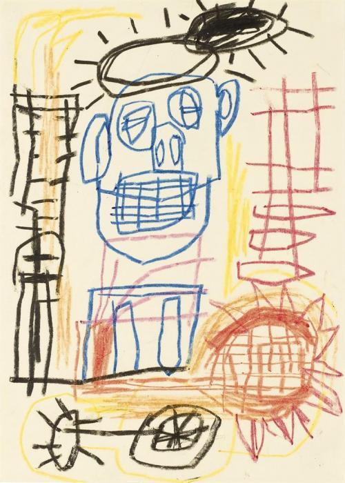Jean-Michel Basquiat-Untitled (Blue Outlined Boy on Wheels)-