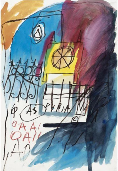 Jean-Michel Basquiat-Untitled (Blue, Purple, Wheel)-1982