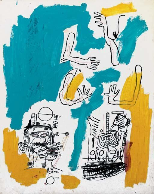 Jean-Michel Basquiat-Untitled Blue and Yellow)-1985