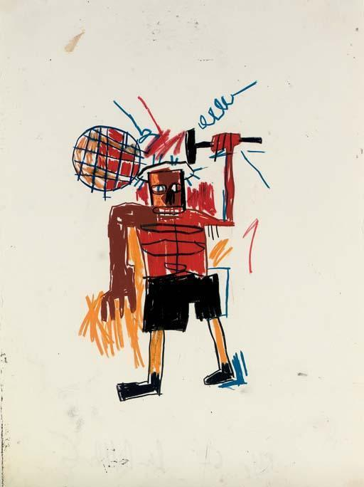 Jean-Michel Basquiat-Untitled (Brown Arm Black Hammer)-1982