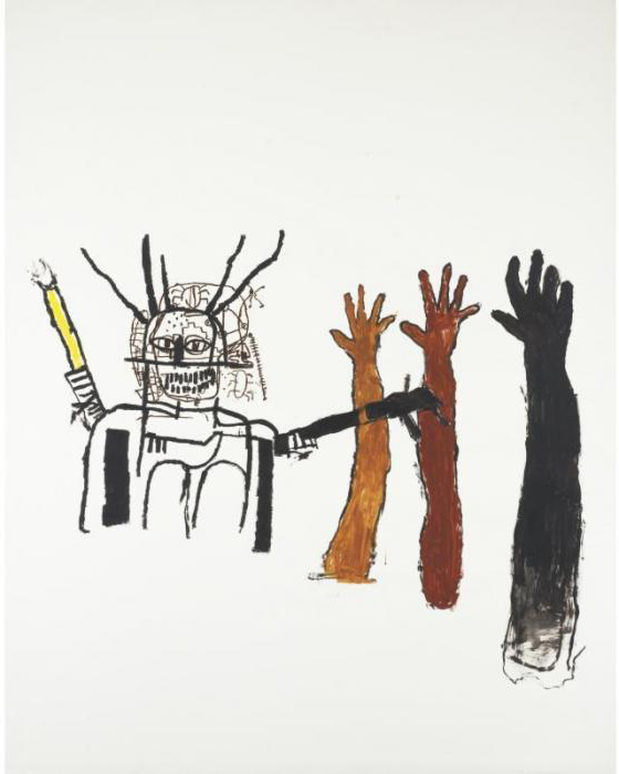Jean-Michel Basquiat-Untitled (Brown Red and Black Hand)-1988