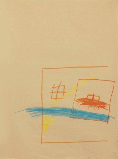 Jean-Michel Basquiat-Untitled (Car Inside House w Orange and Blue)-1981