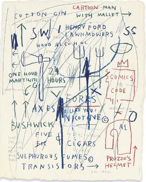 Jean-Michel Basquiat-Untitled (Carton Man With Mallet)-1985