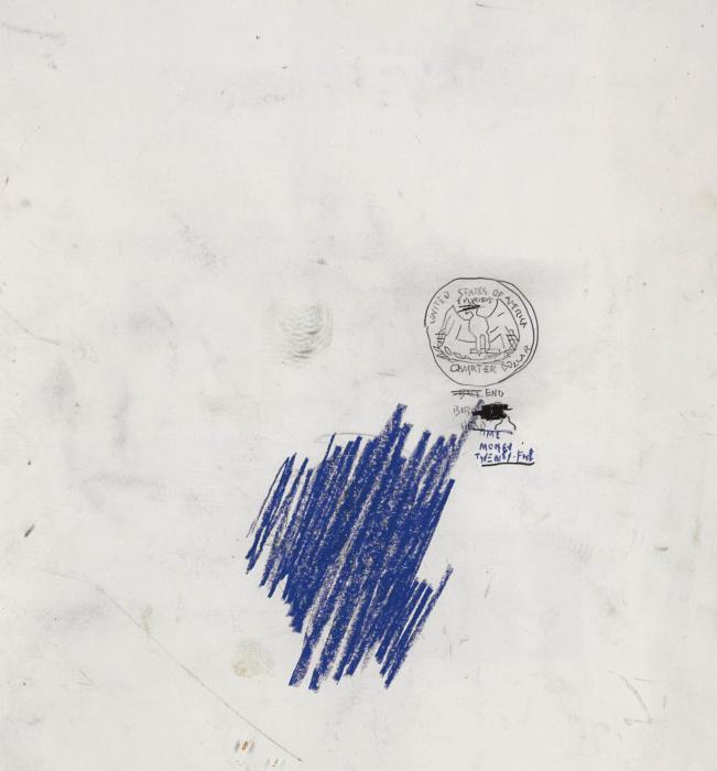 Jean-Michel Basquiat-Untitled (Coin, Blue Shading)-1983