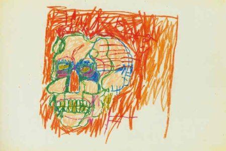 Jean-Michel Basquiat-Untitled, Crane Bleu-Orange-1981