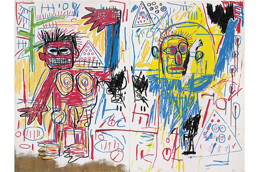Jean Michel Basquiat art often comments on the topics of race, power, and money