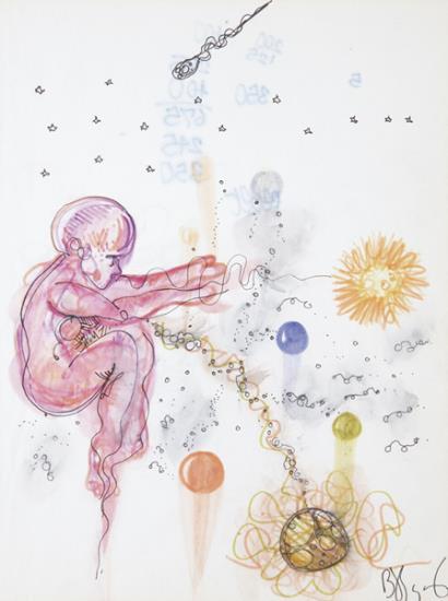 Jean-Michel Basquiat-Untitled (Dreamy Pink Baby)-1977