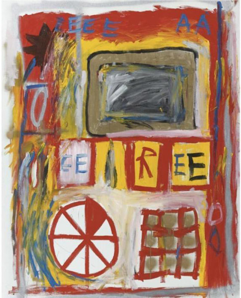 Jean-Michel Basquiat-Untitled (EE R EE Wheel)-1981