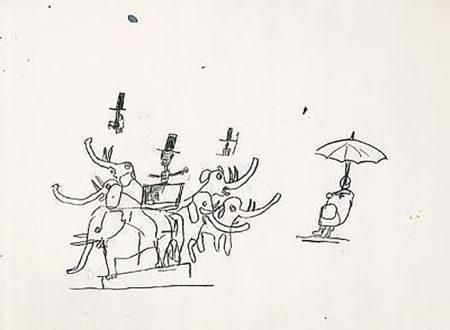Jean-Michel Basquiat-Untitled (Elephants & Umbrella)-1984