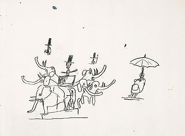 Jean-Michel Basquiat-Untitled (Elephants & Umbrella)-1984