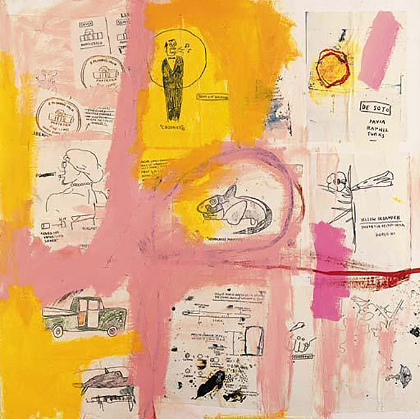 Jean-Michel Basquiat-Untitled (Fish Outline in Center)-1984